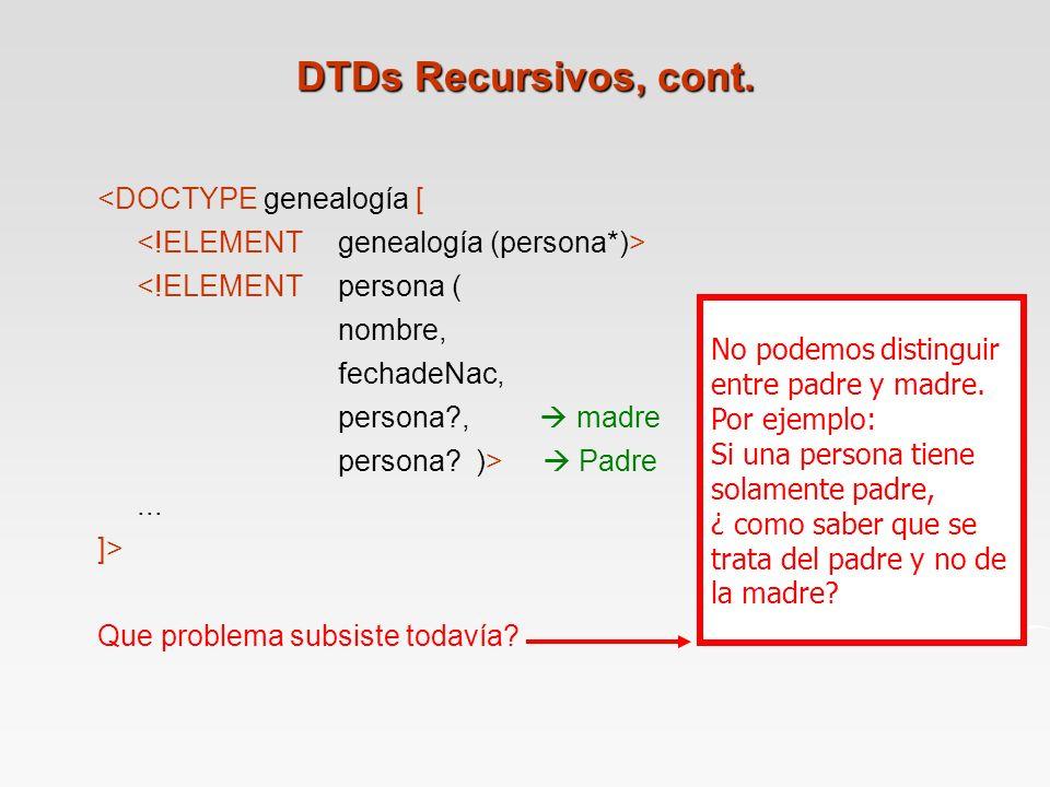 DTDs Recursivos, cont. <DOCTYPE genealogía [